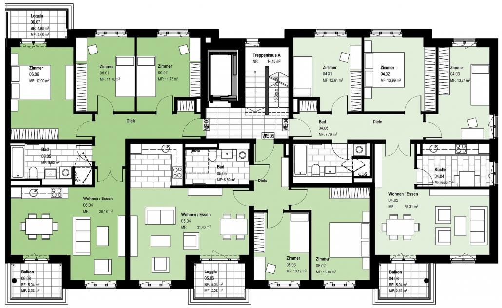 Haus A – Grundriss Regelgeschoss