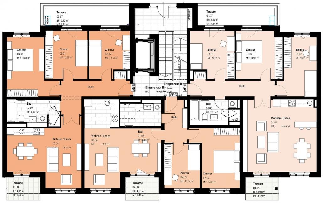 Haus B – Grundriss Erdgeschoss