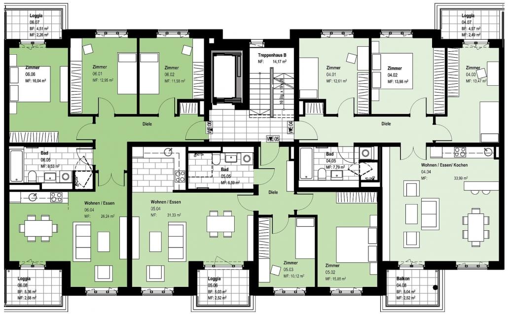 Haus B – Grundriss Regelgeschoss