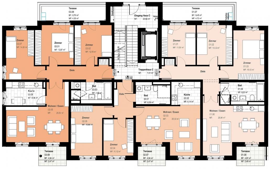 Haus C – Grundriss Erdgeschoss